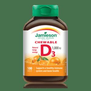 Витамин D3 с вкус на портокал 1000IU х100 дъвчащи таблетки Джеймисън